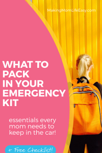 Blonde girl with yellow backpack in front of yellow wall. Pin background with text overlay that says 'what to pack in your emergency kit'.