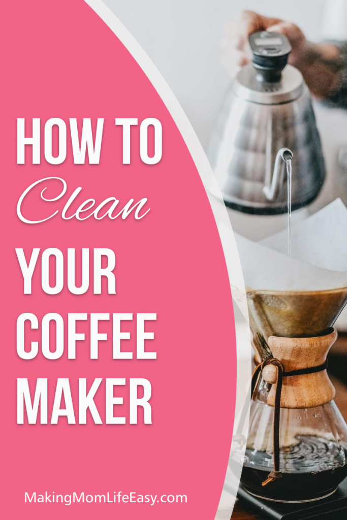 coffee being poured with text overlay that says 'how to clean a coffee maker without vinegar'