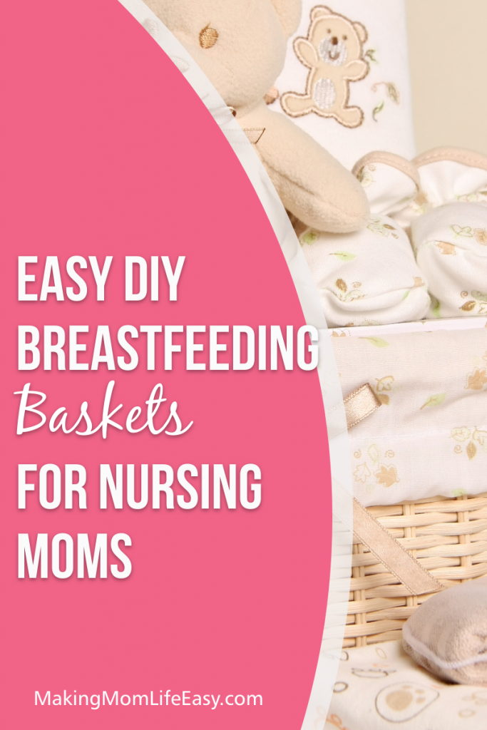 Wicker basket full of soft baby blankets with pink overlay and text that says 'easy diy breastfeeding basket for nursing moms'