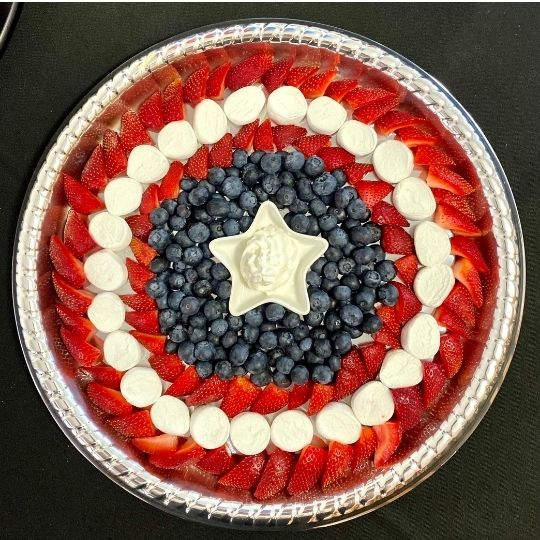 Berry tray that looks like a captain America shield