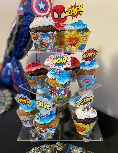 Superhero cake tower