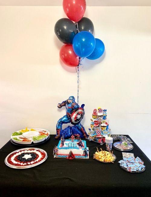 Avengers party dessert table