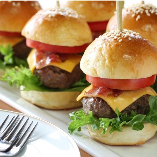 Image of Cheeseburger sliders on white plate
