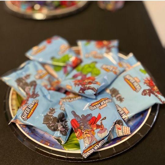 Plate of Marvel Avenger fruit snacks for Marvel Avengers birthday party on a budget