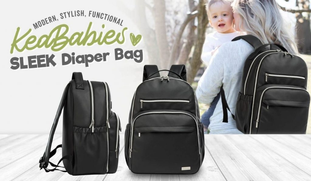 Multiple images of black diaper bag. Blonde woman in background holding a baby and wearing the diaper bag